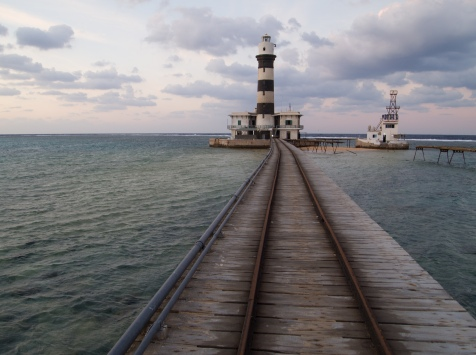 The lighthouse and the now unused railway